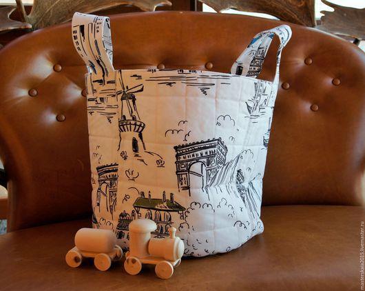 Корзины, коробы ручной работы. Ярмарка Мастеров - ручная работа. Купить Текстильная корзина для игрушек. Handmade. Комбинированный, Текстильная корзина