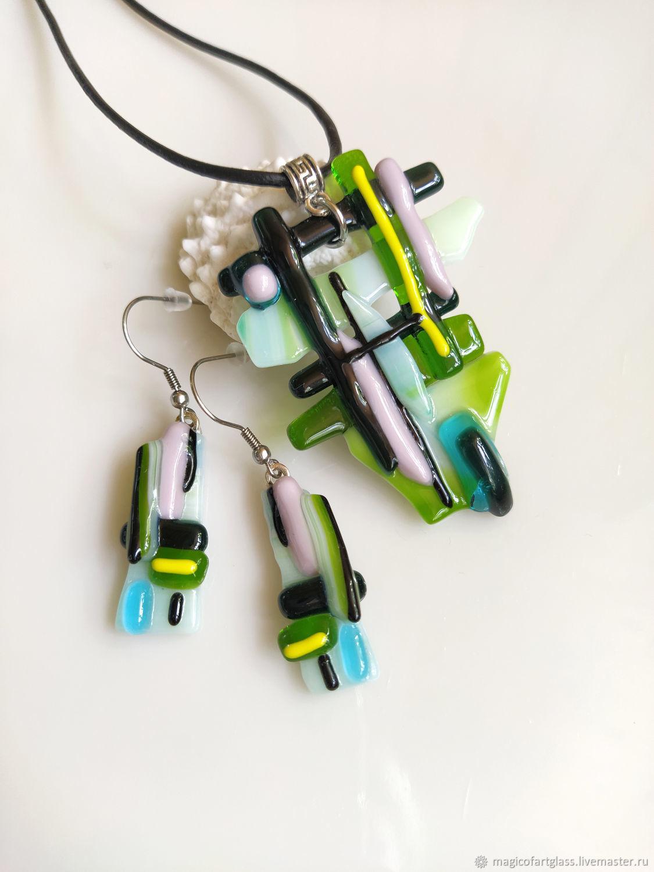 Jewelry sets: art glass Lines, earrings and pendant, Jewelry Sets, Khabarovsk,  Фото №1