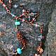 Материалы: медь патинированная, японский и чешский бисер, шерсть, жадеит, бусины из стекла ручной работы (лэмпворк).