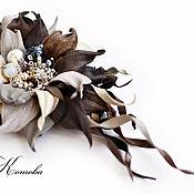 Украшения handmade. Livemaster - original item Brooch made of Gray leather in shades of flower with beads. Handmade.