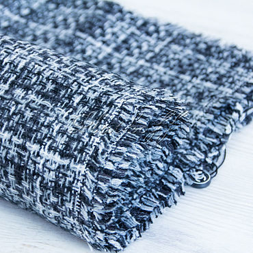 Accessories handmade. Livemaster - original item Black and white tweed scarf from Chanel fabric