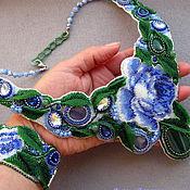 """Украшения ручной работы. Ярмарка Мастеров - ручная работа """"Голубые розы"""", комплект. Handmade."""