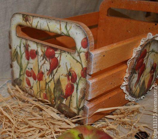 """Корзины, коробы ручной работы. Ярмарка Мастеров - ручная работа. Купить Короб- ящик для хранения """"Дары осени"""". Handmade. Рыжий"""