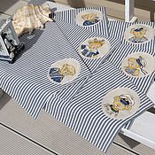 """Для дома и интерьера ручной работы. Ярмарка Мастеров - ручная работа Салфетки """"Морская команда"""". Handmade."""