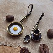 """Украшения ручной работы. Ярмарка Мастеров - ручная работа серьги под бронзу """"Breakfast"""". Handmade."""