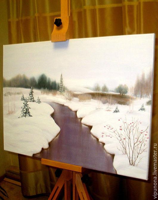 Картины цветов ручной работы. Ярмарка Мастеров - ручная работа. Купить Зимняя дорога. Handmade. Белый, картина для интерьера, картины