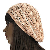 Аксессуары handmade. Livemaster - original item Beret knitted openwork Athena. Handmade.