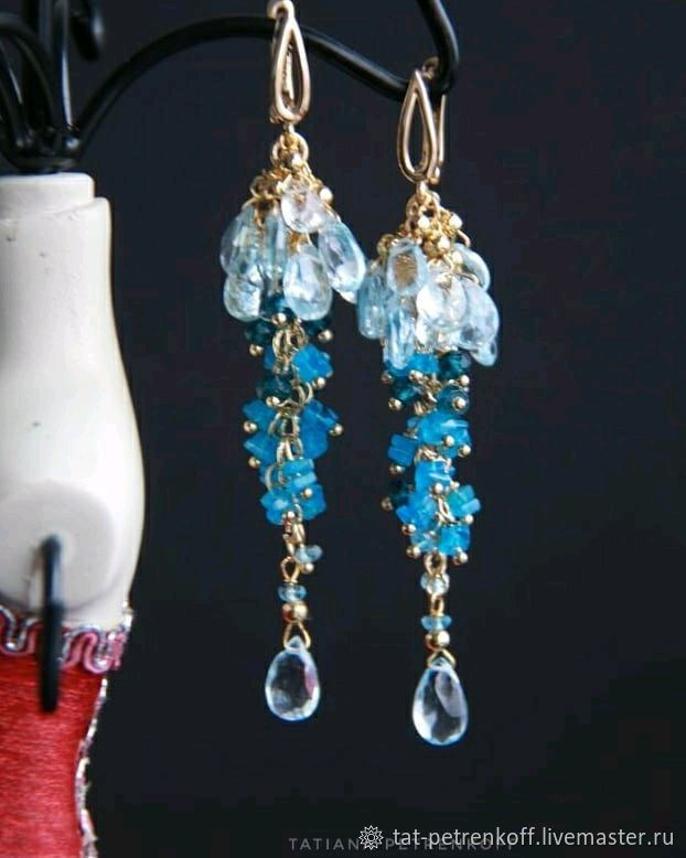 Cluster earrings, blue and London Topaz, Apatite ' London', Earrings, Moscow,  Фото №1