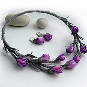 Украшения handmade. Livemaster - original item Jewelry set with PRIMROSES CROCUSES open, necklace and earrings. Handmade.