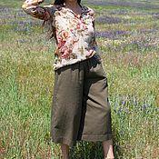 handmade. Livemaster - original item Summer linen trousers with elastic waist PA0915LE. Handmade.