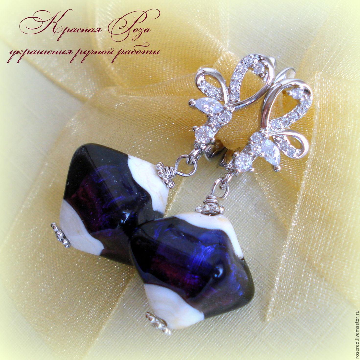 Earrings handmade. Livemaster - handmade. Buy Earrings 'Evening'.Wedding, dark purple, dangling earrings, prom, earrings hanging