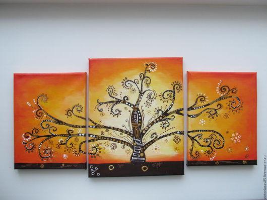 """Абстракция ручной работы. Ярмарка Мастеров - ручная работа. Купить """"Дерево  счастья"""". Handmade. Рыжий, дерево, акриловые краски"""