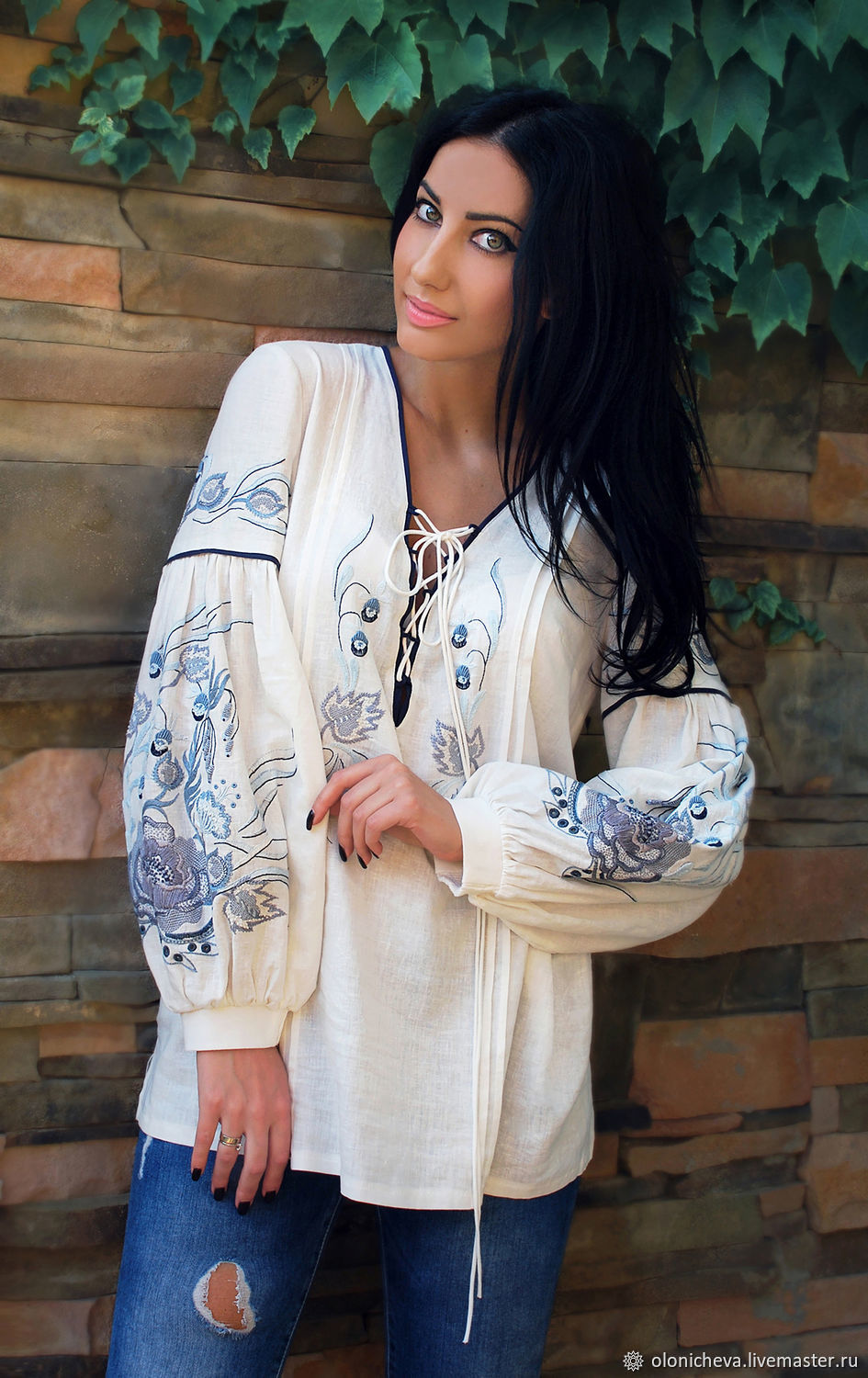 Embroidered blouse, embroidered shirt 'Morning mint' blouse with embroidery, Blouses, Vinnitsa,  Фото №1