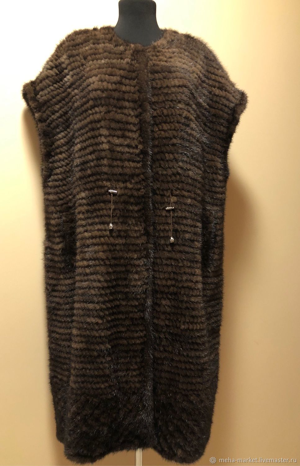 Vest made of knitted mink 'Chocolate' 110 cm. length, Vests, Moscow,  Фото №1