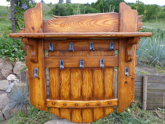 Мебель ручной работы. Ярмарка Мастеров - ручная работа. Купить Вешалка в прихожую под старину из массива (браширование). Handmade. Коричневый
