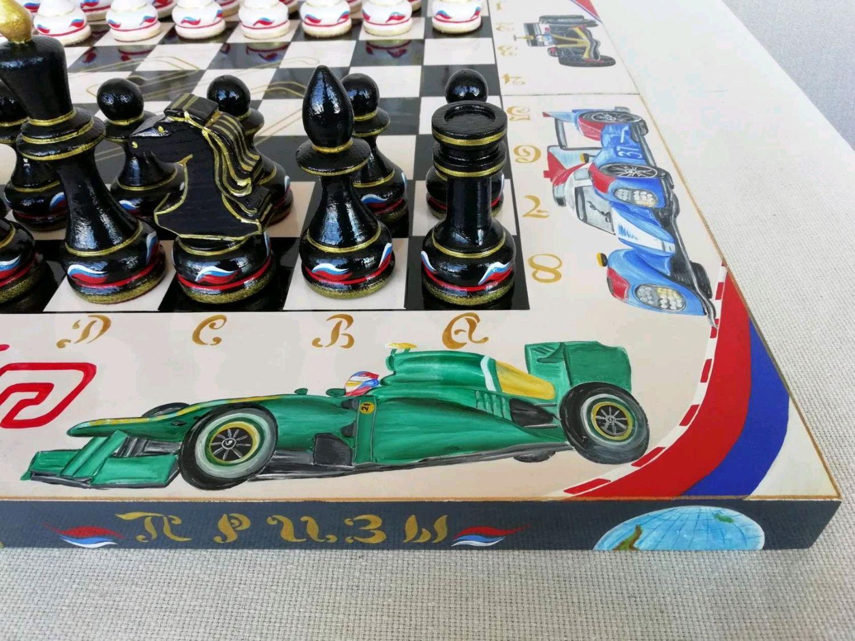 "Шахматы из дерева ""Автоспорт"", ручная роспись, Stuffed Toys, Shilovo,  Фото №1"