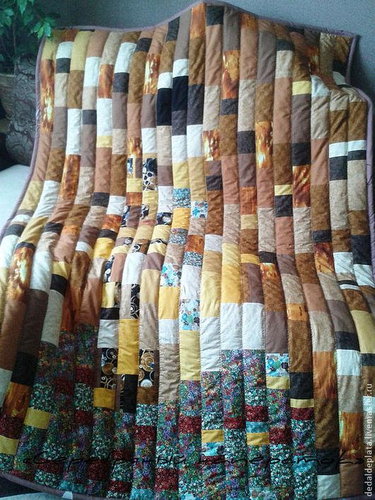 """Текстиль, ковры ручной работы. Ярмарка Мастеров - ручная работа. Купить Лоскутное одеяло """"Сны о Климте"""". Handmade. Коричневый, синтепон"""