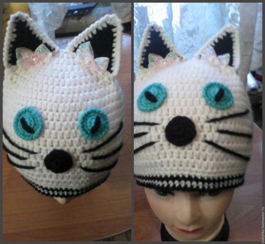 Шапки ручной работы. Ярмарка Мастеров - ручная работа. Купить Шапка-кошка. Handmade. Комбинированный, связать на заказ