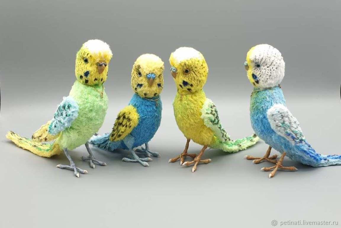 """Игрушки животные, ручной работы. Ярмарка Мастеров - ручная работа. Купить Волнистые попугайчики """"Тедди"""" (голубой продан). Handmade."""