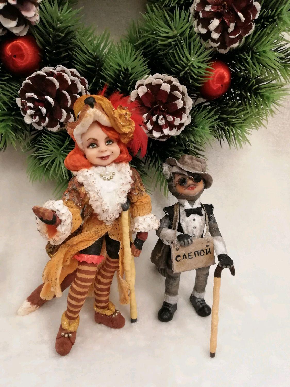 Лиса Алиса и кот Базилио, ватные елочные игрушки, Кукольный театр, Москва,  Фото №1