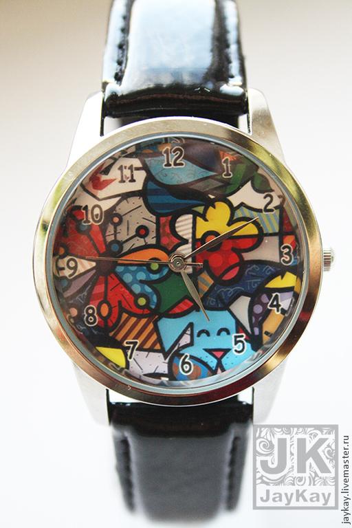 """Часы ручной работы. Ярмарка Мастеров - ручная работа. Купить Часы наручные JK """"Пес и цветок"""". Handmade. Разноцветный"""