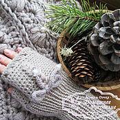 Аксессуары ручной работы. Ярмарка Мастеров - ручная работа митенки вязаные теплые в стиле Рустик. Handmade.