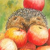 Картины и панно ручной работы. Ярмарка Мастеров - ручная работа Ёжик и яблоки. Handmade.