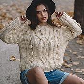 handmade. Livemaster - original item Jerseys: Women`s oversize wool sweater in milk color. Handmade.