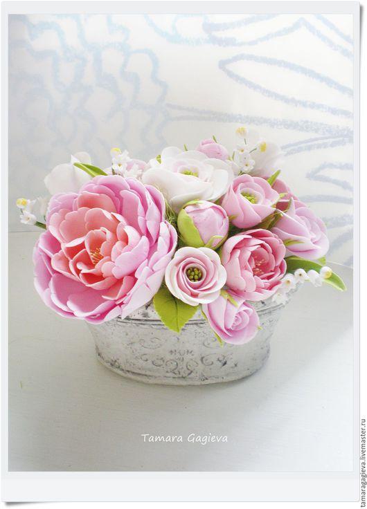 """Цветы ручной работы. Ярмарка Мастеров - ручная работа. Купить Композиция в стиле """"прованс"""". Handmade. Бледно-розовый"""