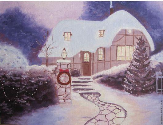 """Пейзаж ручной работы. Ярмарка Мастеров - ручная работа. Купить Картина маслом """"Новогоднее чудо"""". Handmade. Бледно-сиреневый, подарок"""
