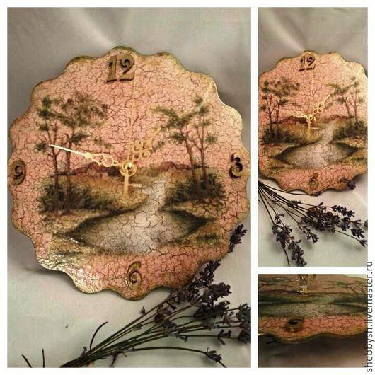 """Часы для дома ручной работы. Ярмарка Мастеров - ручная работа. Купить Часы """"Пейзаж"""". Handmade. Разноцветный, handmade, трещины, пейзаж"""