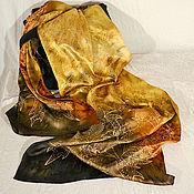 Аксессуары handmade. Livemaster - original item Silk scarf batik Autumn chocolate. Handmade.
