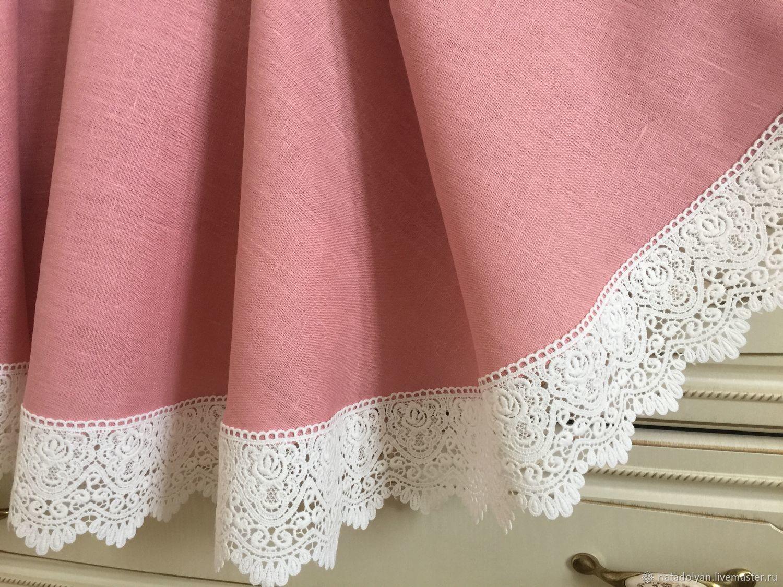 Linen tablecloth 'Tea rose round' Dia.160 cm, Tablecloths, Ivanovo,  Фото №1