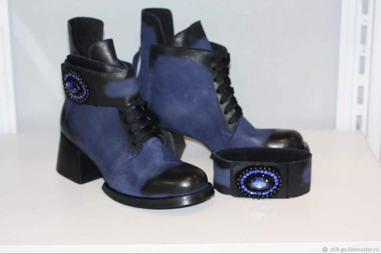Синие ботинки со съёмным ремешком, Ботинки, Оренбург,  Фото №1