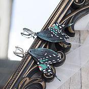 Украшения handmade. Livemaster - original item Butterfly earrings Papilio polyxenes-2 leather. Handmade.
