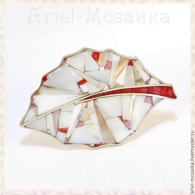 Brooch `Leaf` ARIEL - Alena - MOSAIC Brooch with pearl Brooch with corals Brooch handmade Brooch - Mosaic from natural stones
