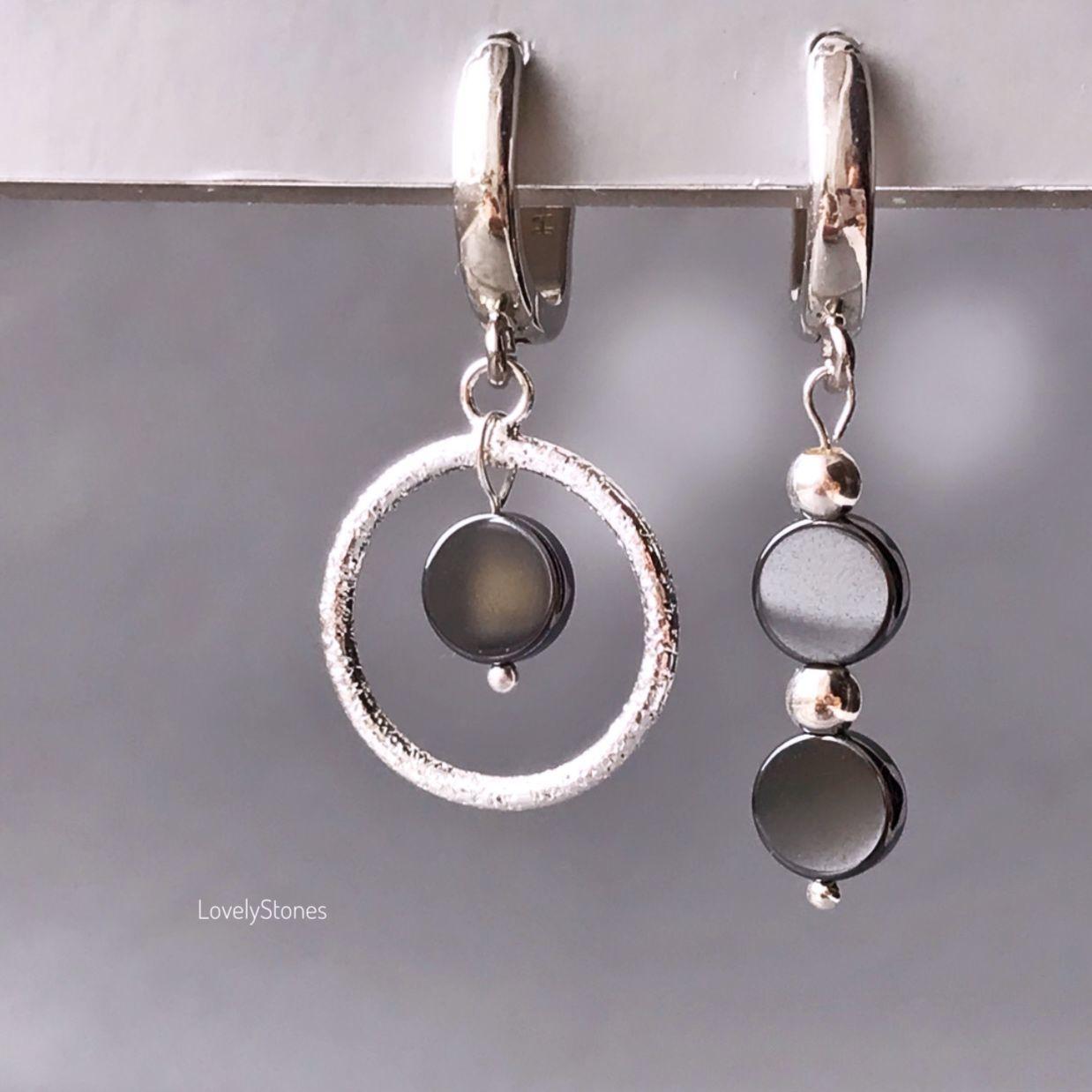 Asymmetric earrings with gray-graphite hematite everyday, Earrings, Yaroslavl,  Фото №1