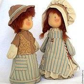 """Куклы и игрушки ручной работы. Ярмарка Мастеров - ручная работа Текстильные куколки """"Детки..""""   пара рыжих деток, голубой, в полосочку. Handmade."""
