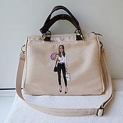 Сумки и аксессуары handmade. Livemaster - original item Women`s double-sided leather bag with custom-made painting for Daria.. Handmade.