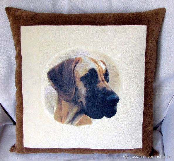Cushion with dog picture Dog. Gift to buy, Pillow, Ekaterinburg,  Фото №1