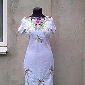 Одежда ручной работы. Ярмарка Мастеров - ручная работа платье белое льняное с вышивкой. Handmade.