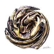 Аксессуары handmade. Livemaster - original item Gray silk Scarf eco print handpainted, Habotai silk scarf. Handmade.
