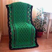 Для дома и интерьера handmade. Livemaster - original item Cape-the plaid on the chair in relief knitted cord. Handmade.