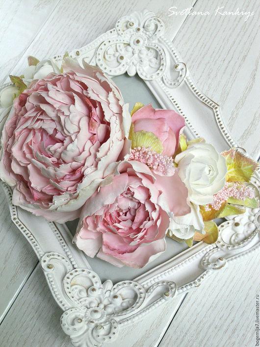 """Одежда и аксессуары ручной работы. Ярмарка Мастеров - ручная работа. Купить Украшение на пояс для свадебного платья """"Нежность"""" (бледно-розовый). Handmade."""