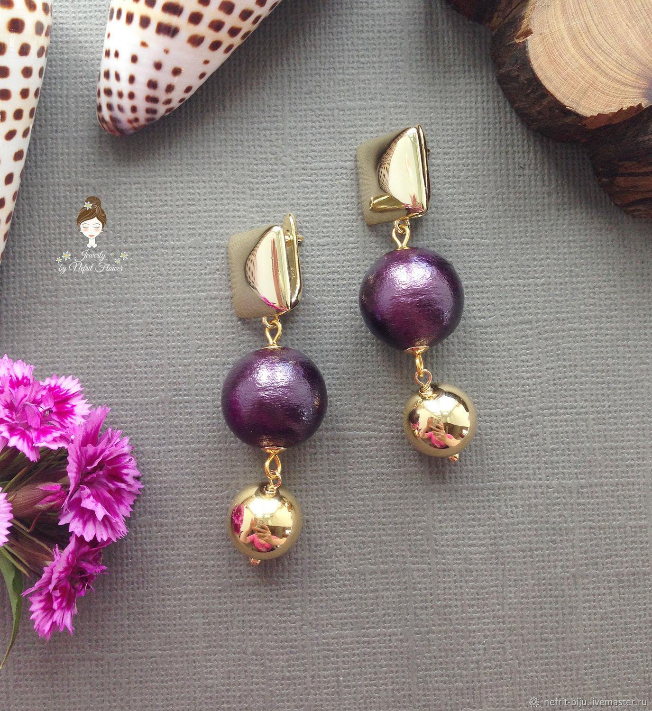 Luxury purple cotton pearl earrings, Earrings, St. Petersburg,  Фото №1