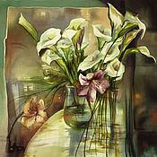 Батик платок Цветочная Иллюзия - кашемир