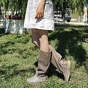 Обувь ручной работы handmade. Livemaster - original item Boots:ROMBO marble / Summer perforated boots made of genuine leather. Handmade.