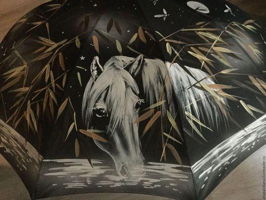 Зонты ручной работы. Ярмарка Мастеров - ручная работа. Купить Зонт с росписью - Ежик и лошадь. Handmade. Черный, мультики, зонт