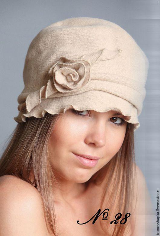 Шапки ручной работы. Ярмарка Мастеров - ручная работа. Купить Женская шапочка стиль-ретро-2. Handmade. Кремовый
