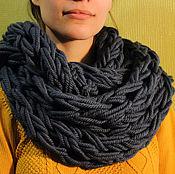Аксессуары ручной работы. Ярмарка Мастеров - ручная работа Объемный снуд шарф вязаный на руках Джинс. Handmade.